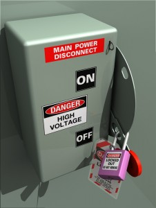 Electric box lockout tagout applied